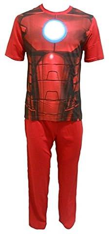 Marvel Avengers Iron Man Herren Schlafanzug Pyjama Set Größe S