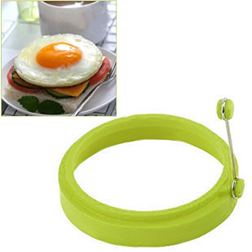 Form Spiegelei,Jaminy Silikon Runde Ei Ringe Pfannkuchen Form Ring W Griffe Nonstick Gebratenes Braten(Durchmesser: 10cm) (Grün)
