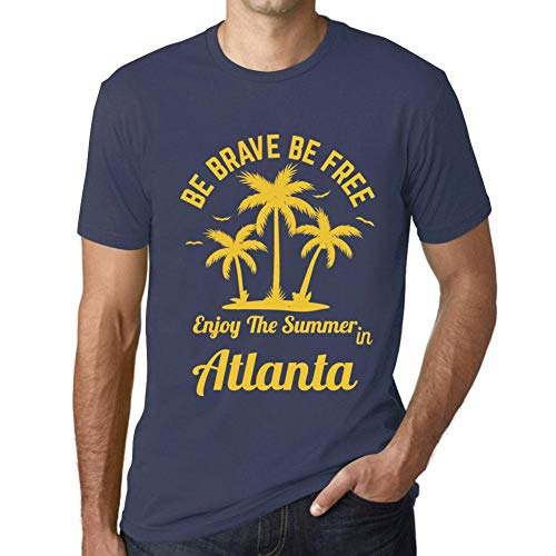 Herren Tee Männer Vintage T-shirt Be Brave & Free Enjoy the Summer Atlanta Dunkelblau - Atlanta Braves Rock