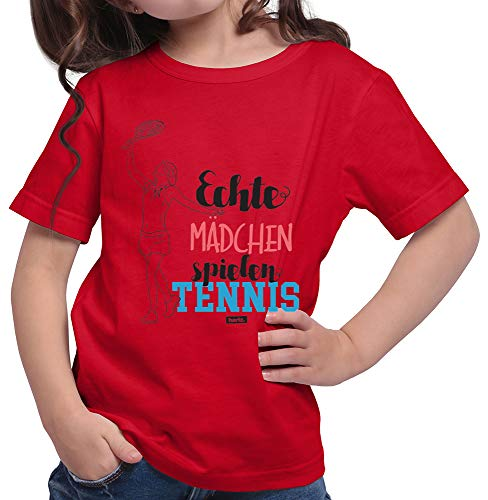 HARIZ  Mädchen T-Shirt Echte Mädchen Tennis Sport Inkl. Geschenk Karte Rot 152/12-13 Jahre