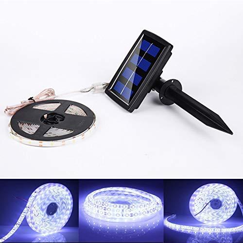 ELINKUME 150 LEDs Solar Strip Licht 5 M/16,4 ft SMD2835 IP65 Wasserdichte Outdoor LED Streifen Lichtschlauch für Garten Balkon Weihnachten Hochzeit Party (kaltweiß)