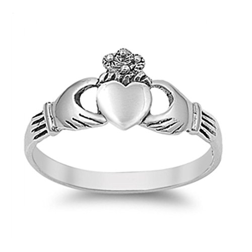 Ring aus Sterlingsilber - Claddagh (Ring Diamant Mit Gold Claddagh)