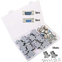 TOOHUI 10 Piezas Conector de Serie DB9, DB9 Pin Macho Conector, DB9 Conector Hembra en Serie y Capucha de Plástico/Carcasa, RS232 Macho Hembra