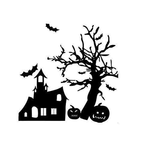 Unheimlich Kostüm Lustig - WRYBO Dekorative entfernbare Wandaufkleber Halloween Wandaufkleber Fledermaus Spukhaus Kürbis Wohnzimmer Schlafzimmer Dekor
