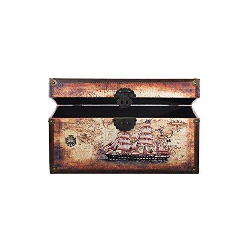 Truhe Kiste SJ 12191 Maritim, Schiff, Segelschiff, Holztruhe mit Leder bezogen im Vintage Look, Schatzkiste,Kiste, Piratenkiste, Kleinmöbel, Mit Metallbeschlägen, Antikoptik, Holz, verschieden Größen, Maritim, Deko, Hochwertig, Kolonialtruhe, Kolonialstil, Holzbox, Truhe mit Ornamenten . (Größe XL 49cm x 28cm x 25cm)