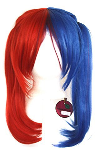 Xcoser Halloween Cosplay Kostüm Perücke Rot Blau Schachtelhalm Haar (Haare Rote Kostüme)