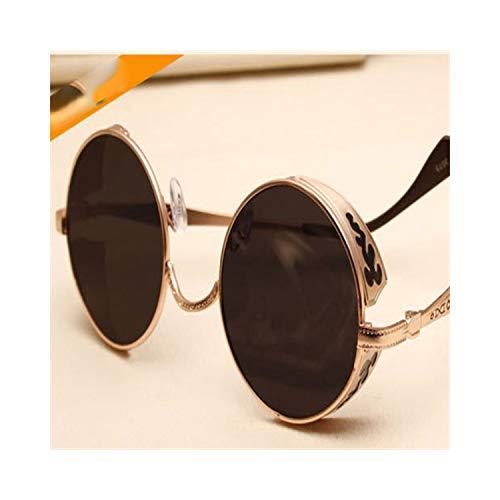 Klassische Sportsonnenbrille, Retro Steampunk Sunglasses For Women Men, Vintage Round Metal Punk Mirror Sun Glasses Oculos De Sol Feminino 3075 C2