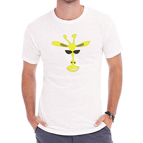 Giraffe Smiel Head Yellow Black Sunglasses Herren T-Shirt Weiß