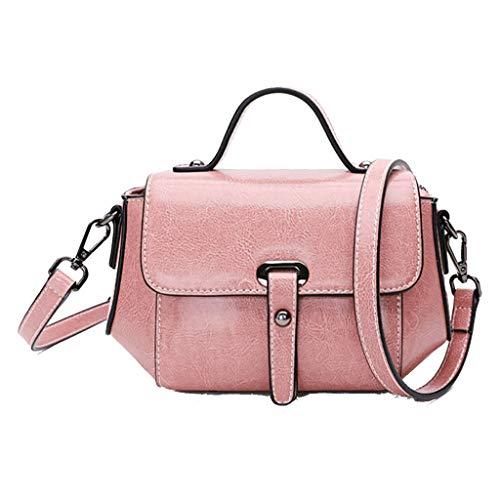 Damen Umhängetasche Ölwachs Leder kleine Tasche Retro koreanische Version der wilden Schulter Messenger Bag Handtasche (Farbe : Rosa, größe : 21 * 13 * 15cm)