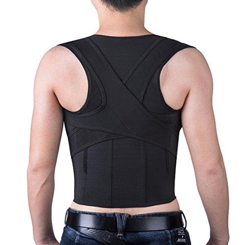 Foto de Isermeo Corrector de Postura con Soporte Recto Ultrafino respirable Vendaje de Elástico en la Cintura del Hombro y Cinturón Para Alivio del Dolor de Espalda