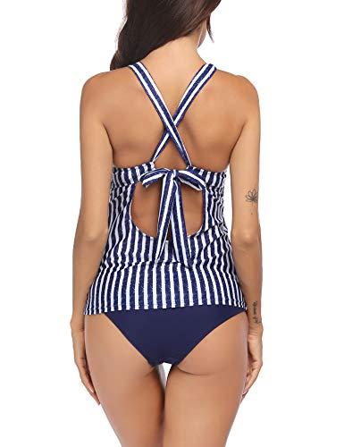 Unibelle Tankinis für Damen Sportlich Bikini Set Zweiteilige Badeanzug Crossover Bikinioberteil Beachwear Strand Bikini Set mit Top - 5