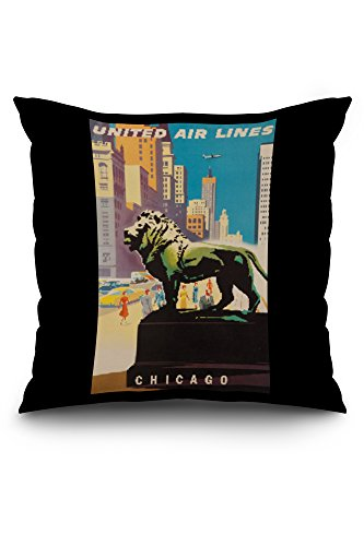 United Airlines - Chicago Vintage Poster (artist: Binder) USA c. 1948 (20x20 Spun Polyester Pillow Case, White - United Airlines Poster