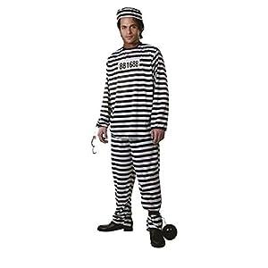 Dress up America Disfraz de Prisionero Adulto Rayas Blancas y Negras