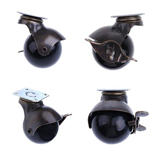 MagiDeal 4 Stk. Swivel Laufrolle Caster Möbelrolle Ersatz Schwenkplatte Räder Kugel-Lenkrolle mit Bremse für Hartholzboden und Boden Teppich Rollendurchmesser: 40 mm/1,5 Zoll - Caster Swivel