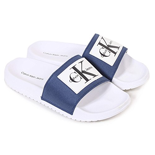 Calvin Klein Jeans Chloe Nylon, Sandales Bout Ouvert Femme Bleu (Stb 000)