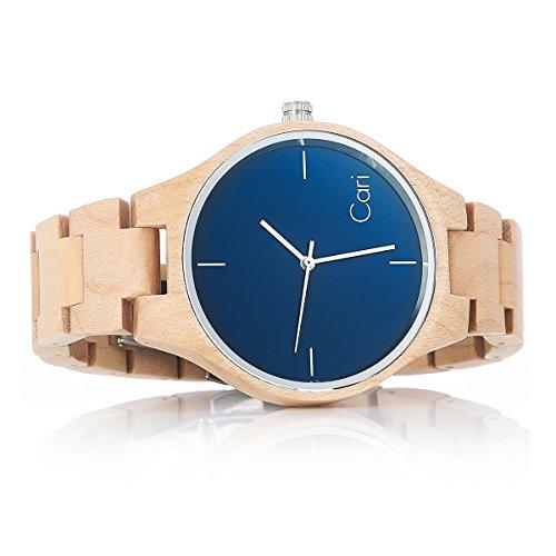 Cari Damen & Herren Holzuhr 40mm mit Schweizer Uhrwerk - Holz-Armbanduhr Stockholm-021