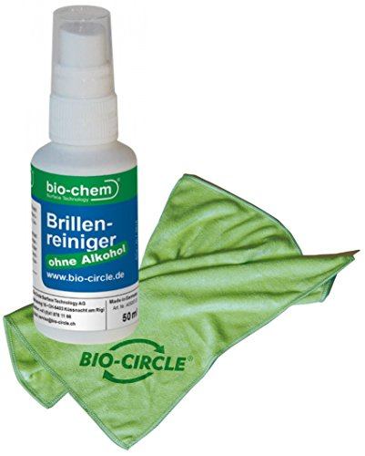 bio-chem® SPARSET Brillenreiniger 50 ml + Mikrofasertuch 39x39 cm I Brillenspray I Bildschirmreiniger I Screen-Cleaner I Anti-Statisch I Anti-Beschlag I Ohne Alkohol I Für alle Brillengläser, Display, Monitor, Smartphone, Handy, Computer, Laptop, Notebook, Tablets, Touch-Screens, Fernseher, TV, LED, TFT, Plasma, iPhone, iPad, iMac etc.