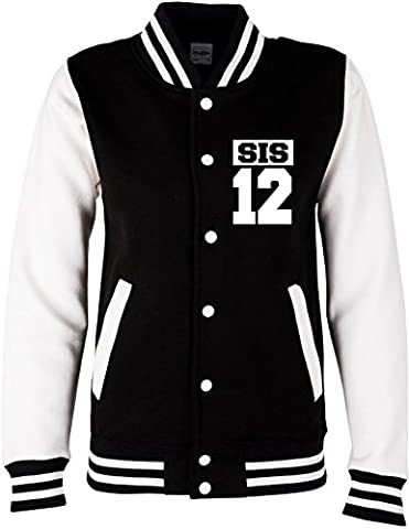 EZYshirt® Bro & Sis vol. 2 | Familiy & best friends | Damen, Herren & Kinder College Jacke, Damen/Schwarz/Weiss/Weiss, 12-13/152-164