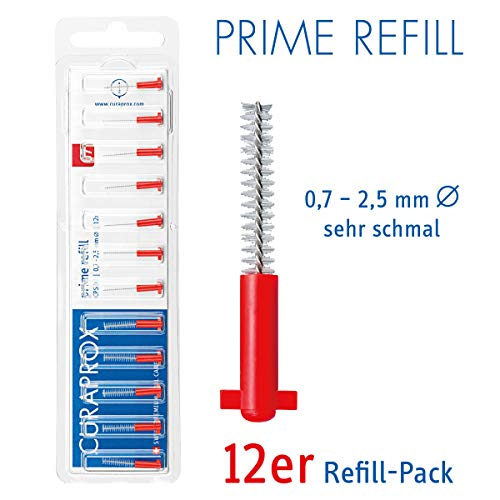 CURAPROX Interdentalbürsten, Größe 0,7mm, 12 Stk, für die Reinigung sehr schmaler Zahnzwischenräume, Zahnreiniger Bürstchen, CPS 07 prime Interdental Bürsten
