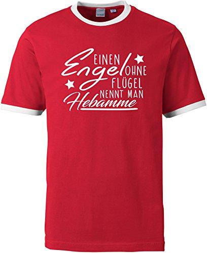 EZYshirt® Ein Engel ohne Flügel nennt man Hebamme Herren Rundhals Ringer T-Shirt Rot/Weiss/Weiss