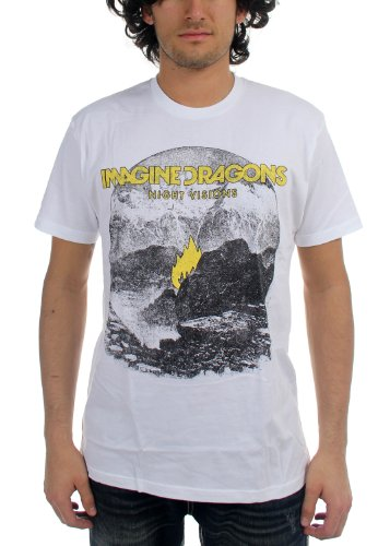 Imagine Dragons - - Herren Flamme Weißes T-Shirt in Weiß, X-Large, White (Dragon White Shirt)