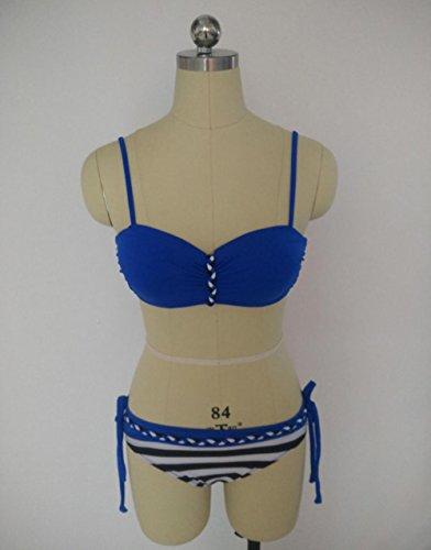 LIUYENIU Hohe Taille Badeanzüge Bikini Kleider Overall Bademode Beachwear Plus Größe verfügbar Blau