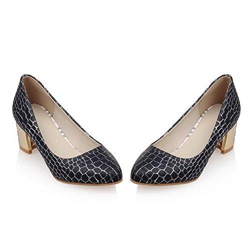 VogueZone009 Femme Tire Pu Cuir Pointu à Talon Correct Texturé Chaussures Légeres Noir