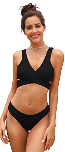 SHEKINI Damen Einzigartig Bikini Set Monochrom Geteilter Badeanzug Mit Quer Brustgurt Weste Bikini Oberteil Und Elastische Triangel-Badehose Solarium Anzug (L, Schwarz)