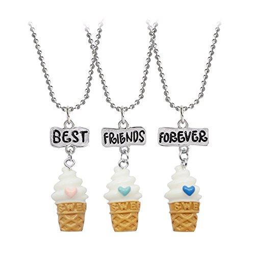 """Elegant Rose, set di 3 collane con ciondoli a forma di gelato, in resina plastica con effetto 3D, con scritta in lingua inglese """"Best Friends Forever"""", idea regalo per amich"""