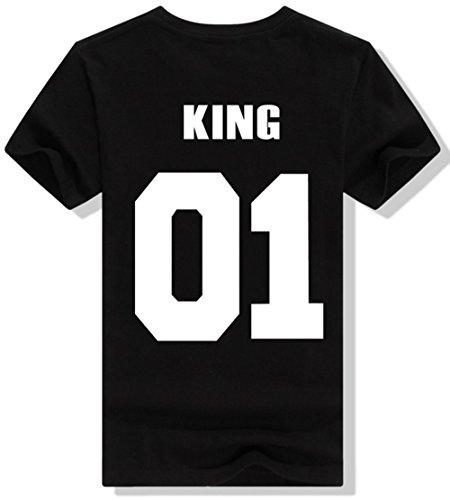 *JWBBU Pärchen T-Shirt Set King Queen für Pärchen Frauen Herren in Schwarz oder Weiß Hochzeitstagsgeschenk Geburtstagsgeschenk Jahrestagsgeschenk (M, schwarz-king)*