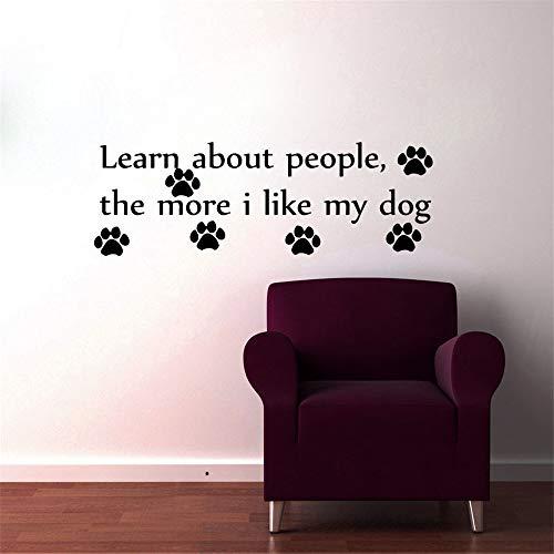 yiyiyaya Erfahren Sie mehr über Menschen je mehr ich Meine Hund Pfotenabdruck Wandaufkleber Home Decor DIY Vinyl Kunst Wohnzimmer Schlafzimmer Dekoration Kaffee 111x43cm