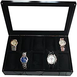 SLK Handcrafted Luxury Watch Box (Black, 10 Watches)