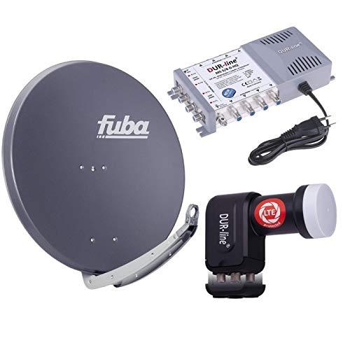 Digital Sat Anlage 8 Teilnehmer | Fuba DAA 850 A Sat-Schüssel 85cm Alu anthrazit + DUR-line +Ultra Quattro LNB + DUR-line MS 5/8 G-HQ Sat Multischalter 8 Teilnehmer (DVB-S2, HDTV, UHD/4K, 3D)