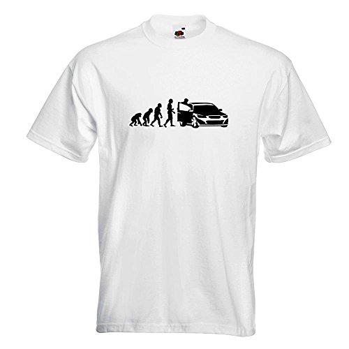 KIWISTAR - Evolution Autofahrer T-Shirt in 15 verschiedenen Farben - Herren Funshirt bedruckt Design Sprüche Spruch Motive Oberteil Baumwolle Print Größe S M L XL XXL Weiß