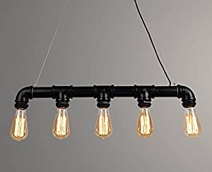 'Tess Vintage Steampunk Pendant Lamp in Rustic Look Metal with 5 Small Edison Screw Light Bulbs from Lightess