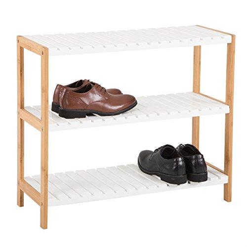 IDIMEX Schuhregal Abilene, Schuhablage offen mit 3 Böden Schuhständer Schuhschrank aus Bambus, Natur/weiß lackiert