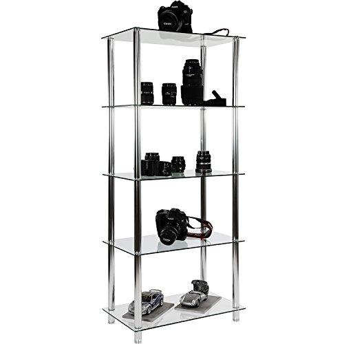 STILISTA Designer Regal, (H) 137 cm x (B) 60 cm, 5 Ebenen, 5mm Sicherheitsglas, Aluminium Tubes verchromt (Glas-metall-bücherregal)