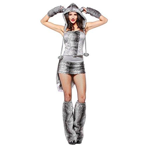 Kostüm Wolf Sexy - Hallowmax Damenbekleidung Tiere Uniformanzug für Cosplay Nachtclub Sexy Halloween Wolf-Kostüm Schicker Party-Rock