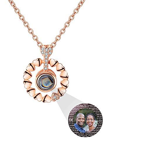 hjsadgasd Personalisierte Foto 925 Silber Halskette 100 sprachen projektion Halskette anhänger halsketten schmuck Geschenk für Frauen