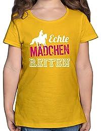 Shirtracer - Sport Kind - Echte Mädchen reiten - Mädchen Kinder T-Shirt