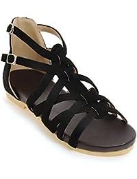 Damen Sommer Sandalen Casual Niedrig - Verfolgte Wild Open Toe Einfache Römische Schuhe, Schwarz, 36