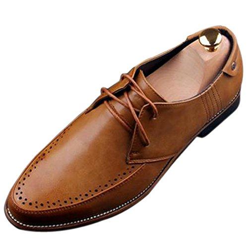 Cap-Toe Mariage En Faux Cuir Fromal Main De Bureau Haut De Gamme Chaussures Habillees Plat Jaune