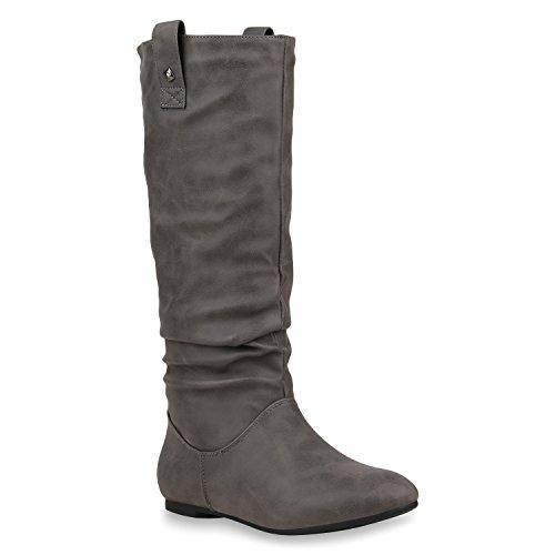 Damen Schlupfstiefel Warm Gefütterte Stiefel Nieten Winter Schuhe 153348 Grau Arriate 37 Flandell