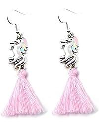 Les Bijoux Acidulés - Boucles d oreilles pendantes Licorne et pompon Rose  pastel - Bijoux 33a777b7a727