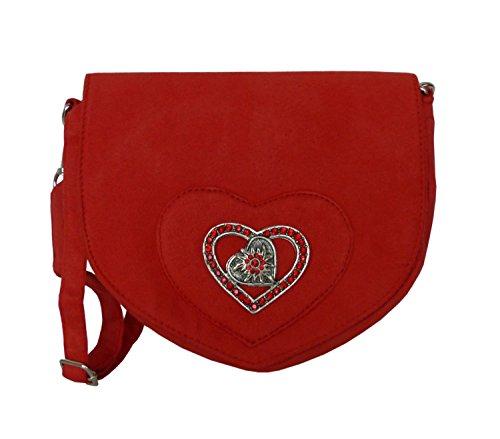 Elegante Trachtentasche im Wildleder-Look - Dirndltasche mit Strass Herz Edelweiss Applikation fürs Dirndl (Rot)