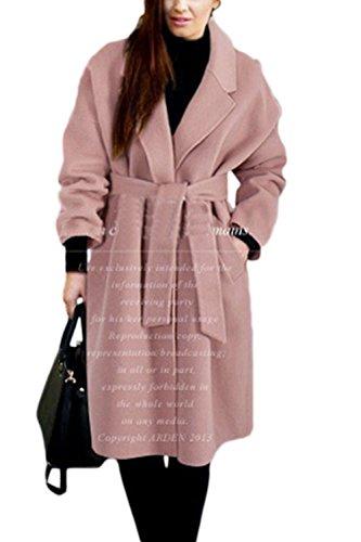 Le Donne Eleganti Risvolto Cintura Nodo Di Carica Calda Lungo Trechcoat Outwear Pink