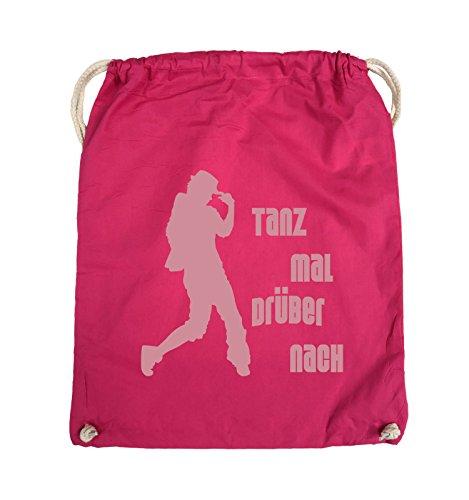Comedy Bags - TANZ MAL DRÜBER NACH - FIGUR - Turnbeutel - 37x46cm - Farbe: Schwarz / Silber Pink / Rosa
