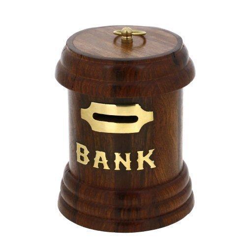 Legno Money Bank, bella mano Money Bank legno in Cilindro / rotonda ShapeWithHandlePiggyBank, intarsio, lavoro moneta bagagli Bank, Un Salvadanaio rende un esclusivo ed elegante di Natale o regalo di compleanno