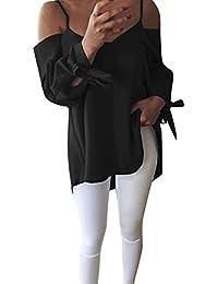 16e6b6de8bc9b MVPKK Chemise Femme Chic Chemise Manches Ouvertes Femme Chemise de Sangle  Femme Chemise Noeud Papillon Femme