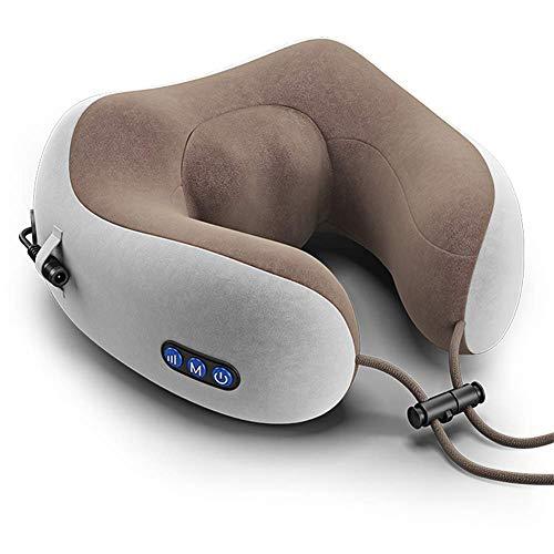 ANKIKI Aufladen U-förmig Massage-Reisekissen Nacken-Shiatsu-Massagegerät mit Vibration Heizfunktion und 3D drehen Physiotherapie Impuls Reise Schlaf